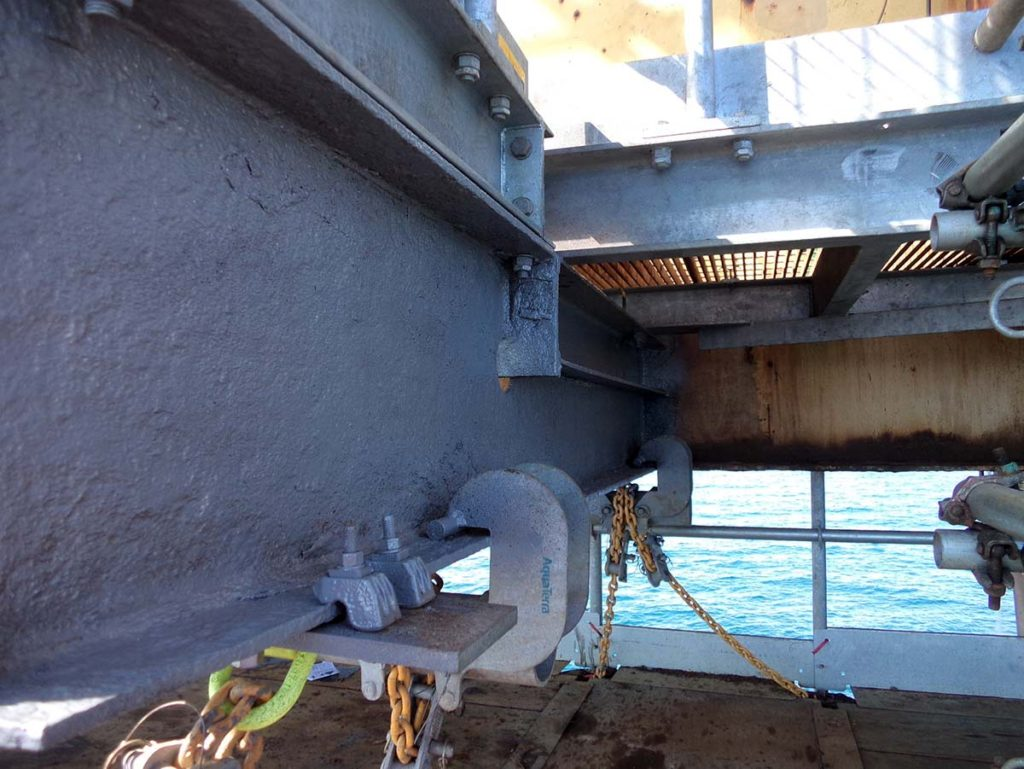 Sureseal Surface and Wet Tolerant Protective Coating is applied to offshore steelwork which had suffered corrosion damage