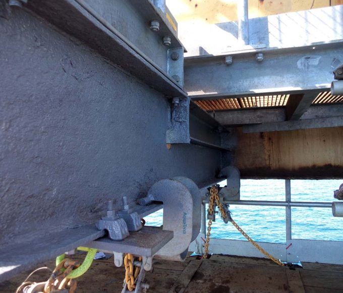 Epoxy Surface and Wet Tolerant Protective Coating is applied to offshore steelwork which had suffered corrosion damage