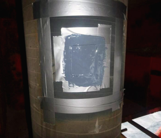 The steel surface of an offshore riser pipe is repaired with ARC 855 Chemical and Corrosion Resistant Coating