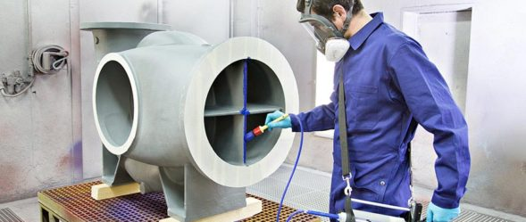 Sulzer Mixcoat Spray Technology applies protective coating to structure on floor mounted unit