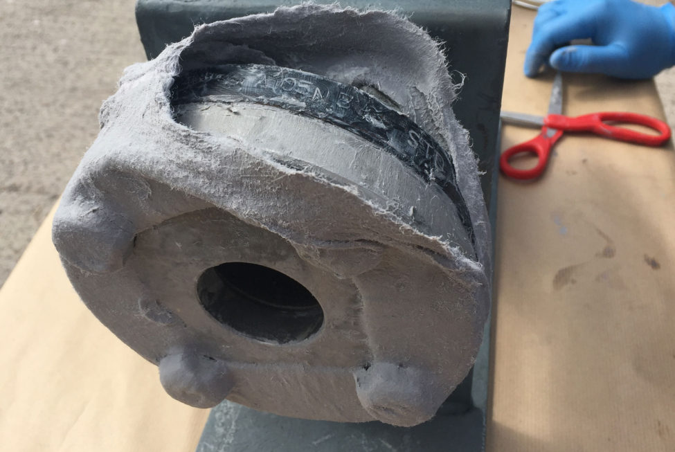 Flange Preservation Wrap is cut open and effectively re-sealed when flange inspection is required