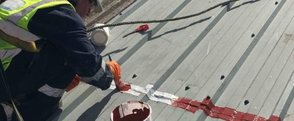 Polyurethane Liquid Applied Waterproofing Coating system is applied to repair and protect badly corroded metal cladding panels