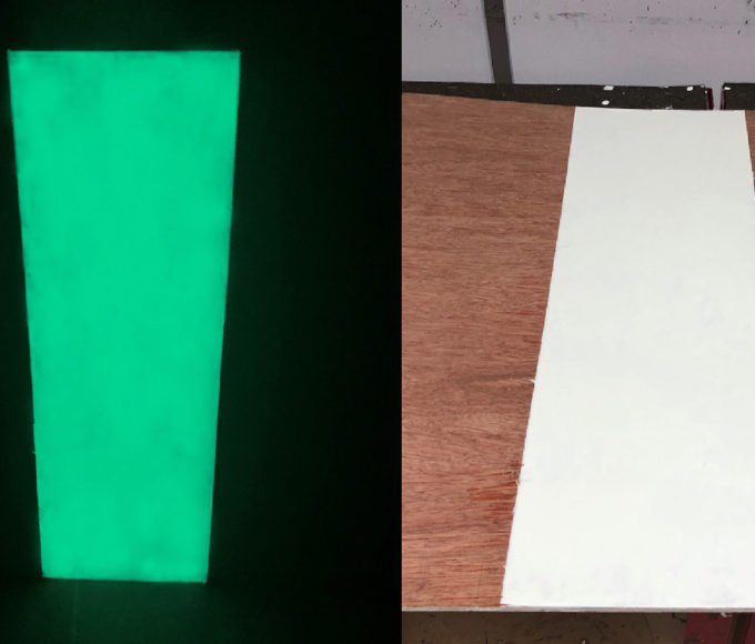 Glow in the Dark Luminescent Coating PMMA Technology comparison between darkness and daylight