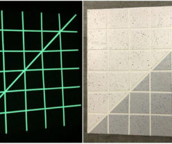 Glow In The Dark Luminescent Coating PMMA Technology Application shown in daylight and darkness
