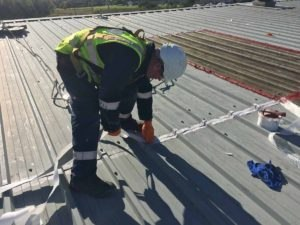 A self-adhesive reinforcement matt is applied to the Bristle Blasted and Primed areas as part of the Polyurethane Liquid Applied Waterproofing Coating system