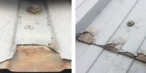 a roof is badly damaged by corrosion