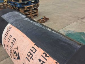 urethane 80 rubber repair and protection is used to repair an offshore offload hose