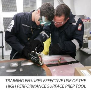 Royal Navy personnel trained in effective use of the Bristle Blaster high performance surface preparation tool