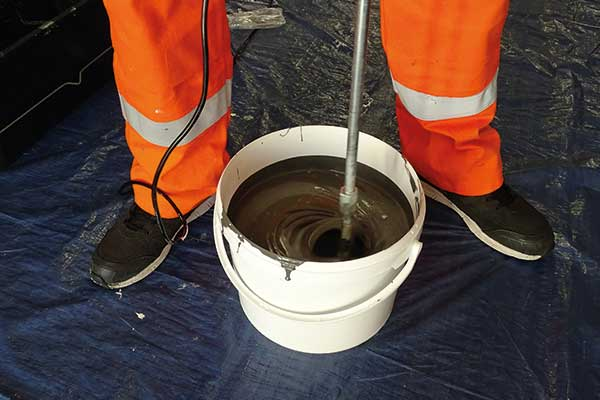 Waterproofing resin mixed thoroughly
