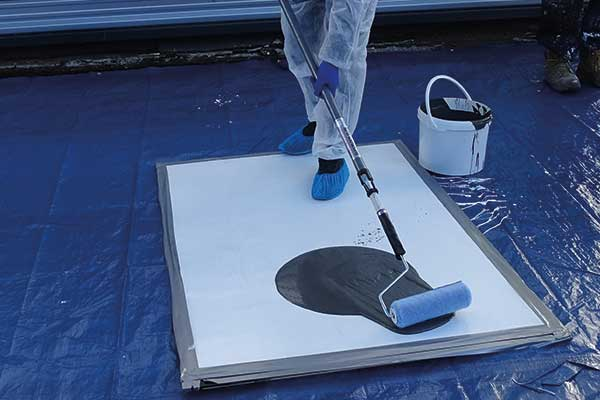 Waterproofing Coating is easily and quickly applied by roller brush
